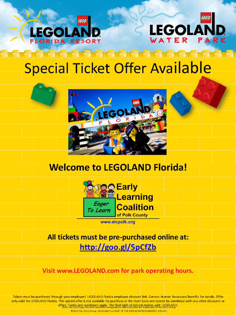 discounted legoland florida tickets early learning coalition of polk county. Black Bedroom Furniture Sets. Home Design Ideas